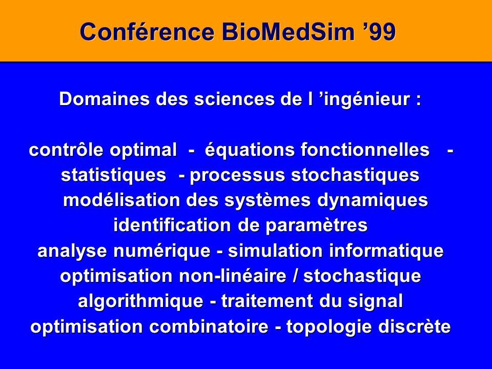 Conférence BioMedSim 99 Domaines des sciences de l ingénieur : contrôle optimal - équations fonctionnelles - statistiques - processus stochastiques mo