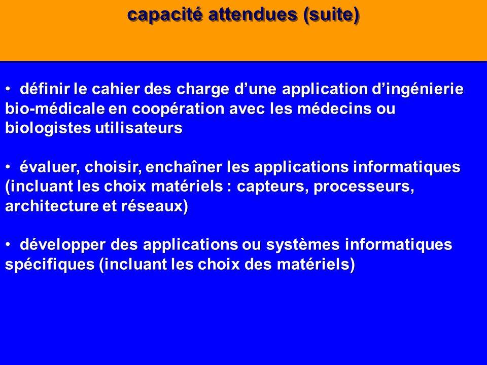 capacité attendues (suite) définir le cahier des charge dune application dingénierie bio-médicale en coopération avec les médecins ou biologistes util