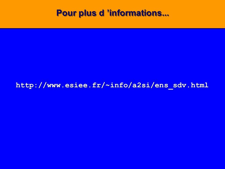 Pour plus d informations... http://www.esiee.fr/~info/a2si/ens_sdv.html http://www.esiee.fr/~info/a2si/ens_sdv.html