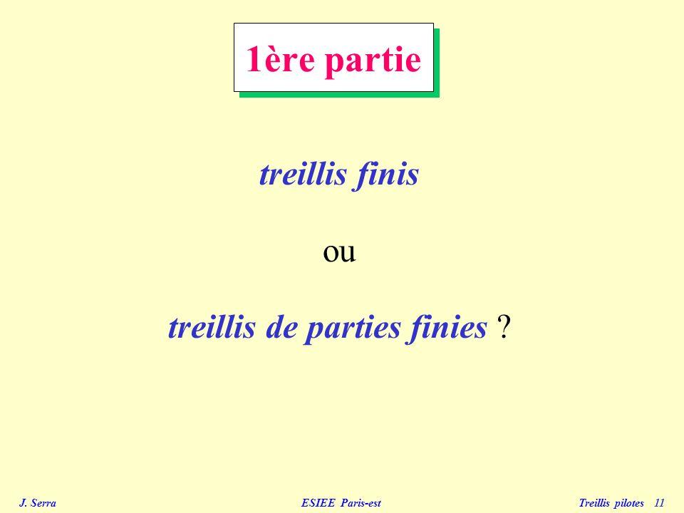 J. Serra ESIEE Paris-est Treillis pilotes 11 1ère partie treillis finis ou treillis de parties finies ?