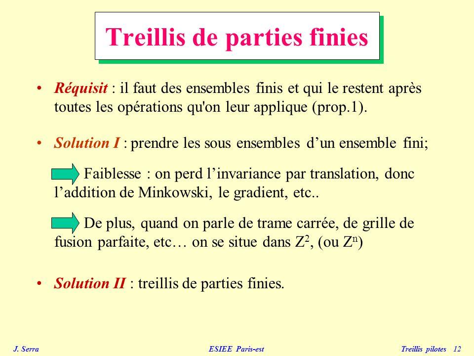 J. Serra ESIEE Paris-est Treillis pilotes 12 Réquisit : il faut des ensembles finis et qui le restent après toutes les opérations qu'on leur applique