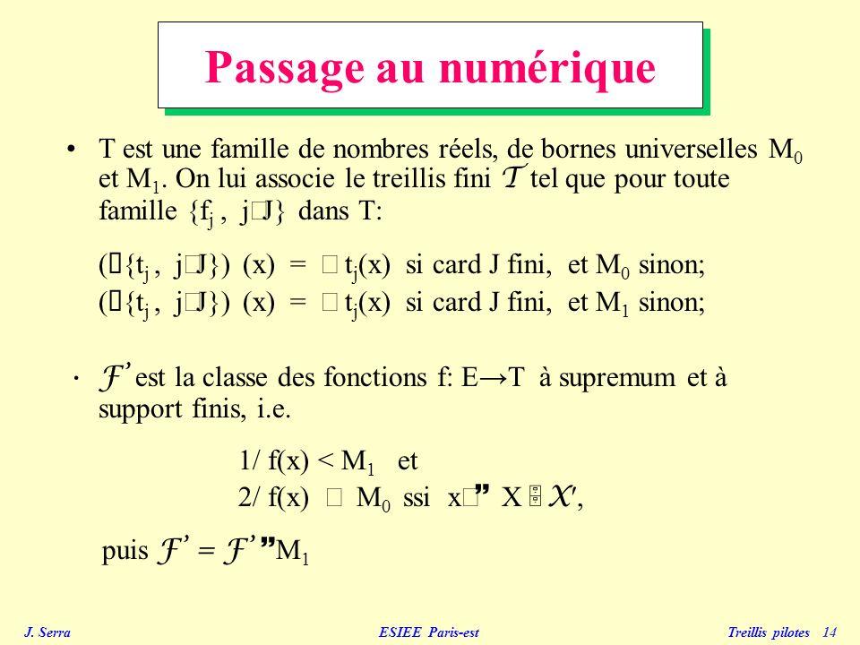 J. Serra ESIEE Paris-est Treillis pilotes 14 Passage au numérique T est une famille de nombres réels, de bornes universelles M 0 et M 1. On lui associ