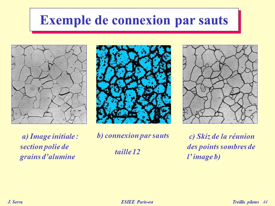 J. Serra ESIEE Paris-est Treillis pilotes 44 c) Skiz de la réunion des points sombres de l image b) a) Image initiale : section polie de grains dalumi