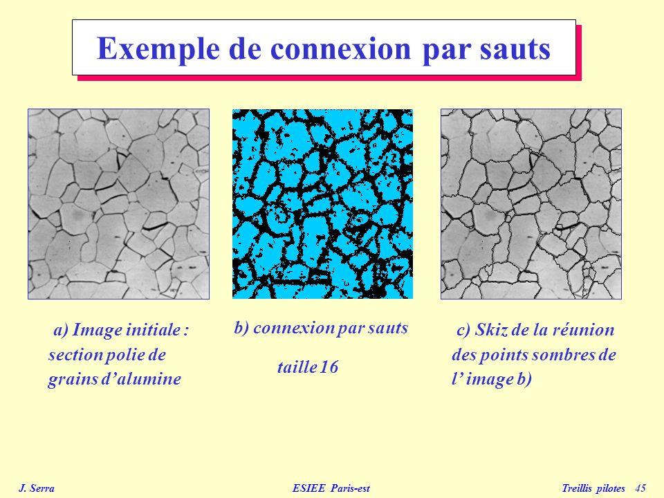 J. Serra ESIEE Paris-est Treillis pilotes 45 Exemple de connexion par sauts c) Skiz de la réunion des points sombres de l image b) a) Image initiale :