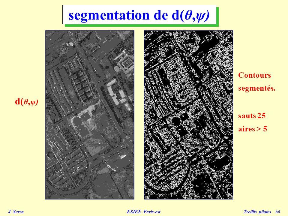 J. Serra ESIEE Paris-est Treillis pilotes 66 d( θ, ψ) segmentation de d(θ,ψ) Contours segmentés. sauts 25 aires > 5