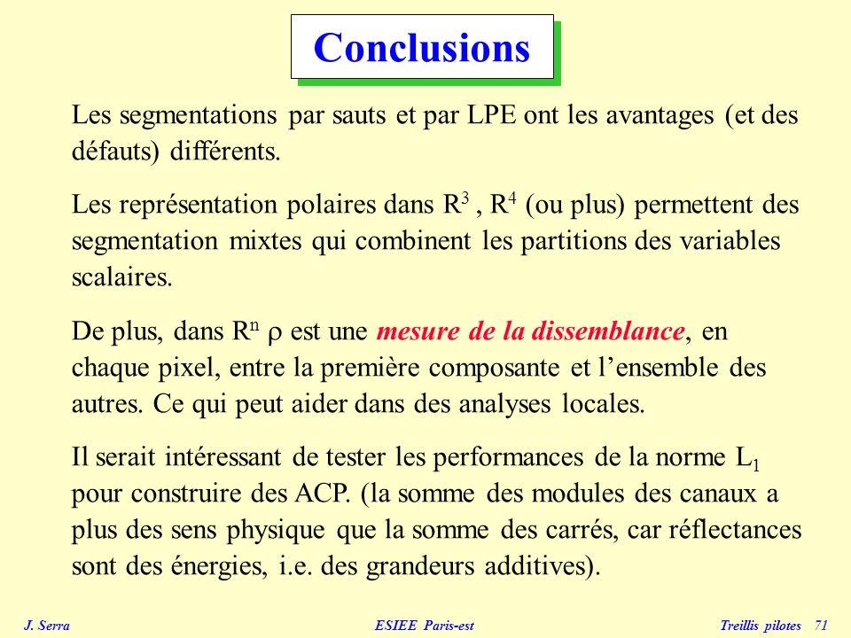 J. Serra ESIEE Paris-est Treillis pilotes 71 Les segmentations par sauts et par LPE ont les avantages (et des défauts) différents. Les représentation