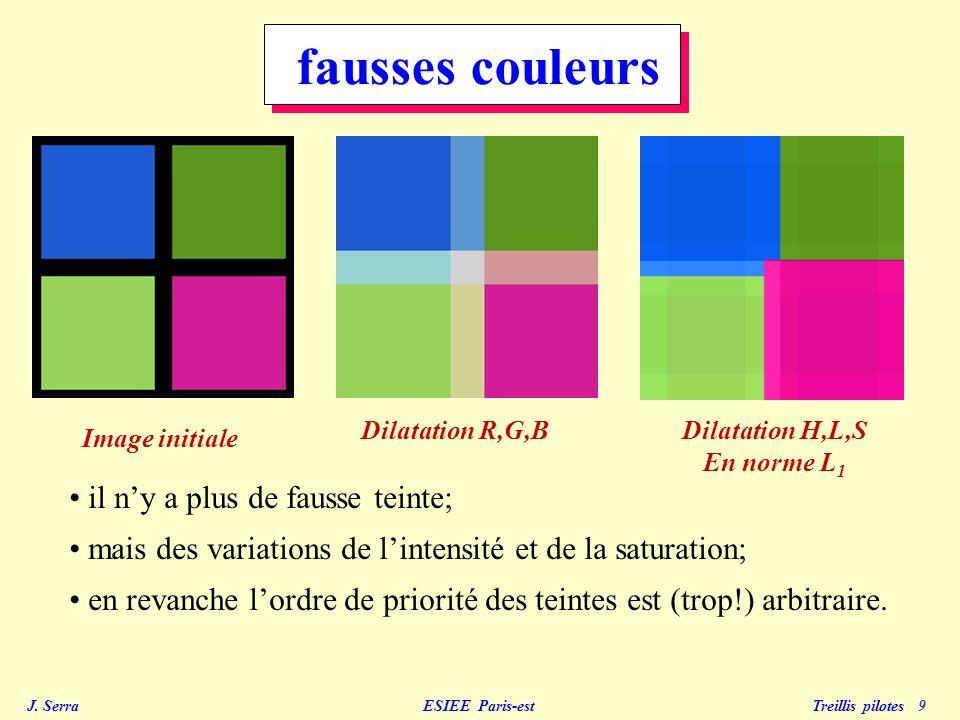 J. Serra ESIEE Paris-est Treillis pilotes 9 Image initiale Dilatation R,G,BDilatation H,L,S En norme L 1 fausses couleurs il ny a plus de fausse teint