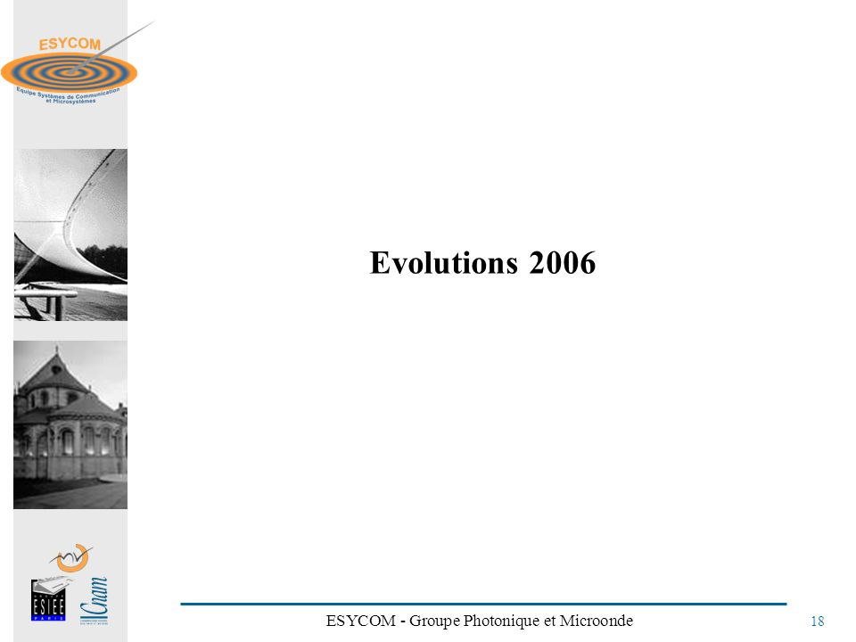 ESYCOM - Groupe Photonique et Microonde 18 Evolutions 2006