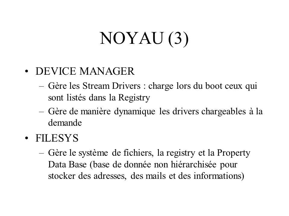NOYAU (3) DEVICE MANAGER –Gère les Stream Drivers : charge lors du boot ceux qui sont listés dans la Registry –Gère de manière dynamique les drivers c