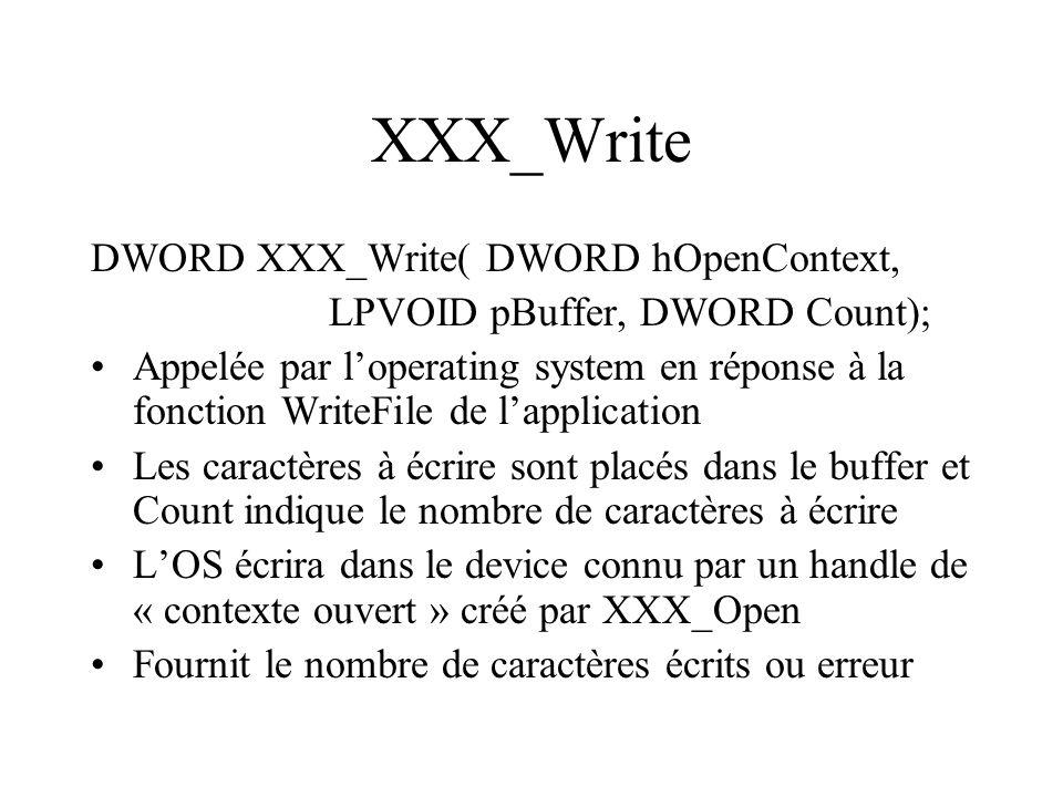 XXX_Write DWORD XXX_Write( DWORD hOpenContext, LPVOID pBuffer, DWORD Count); Appelée par loperating system en réponse à la fonction WriteFile de lappl