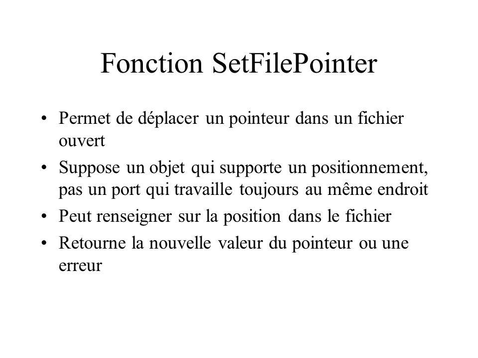 Fonction SetFilePointer Permet de déplacer un pointeur dans un fichier ouvert Suppose un objet qui supporte un positionnement, pas un port qui travail