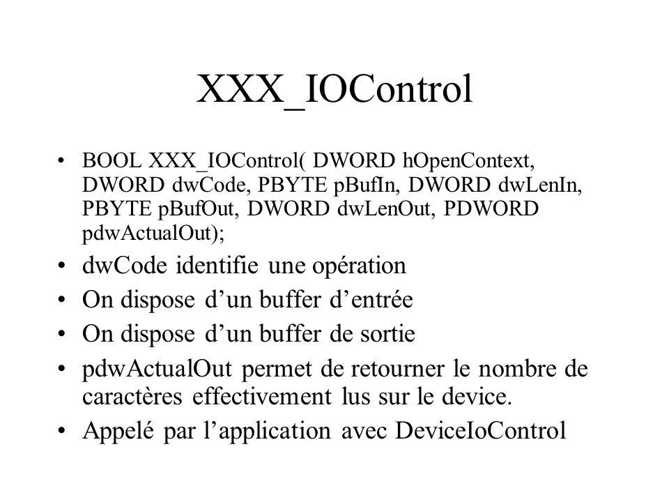 XXX_IOControl BOOL XXX_IOControl( DWORD hOpenContext, DWORD dwCode, PBYTE pBufIn, DWORD dwLenIn, PBYTE pBufOut, DWORD dwLenOut, PDWORD pdwActualOut);
