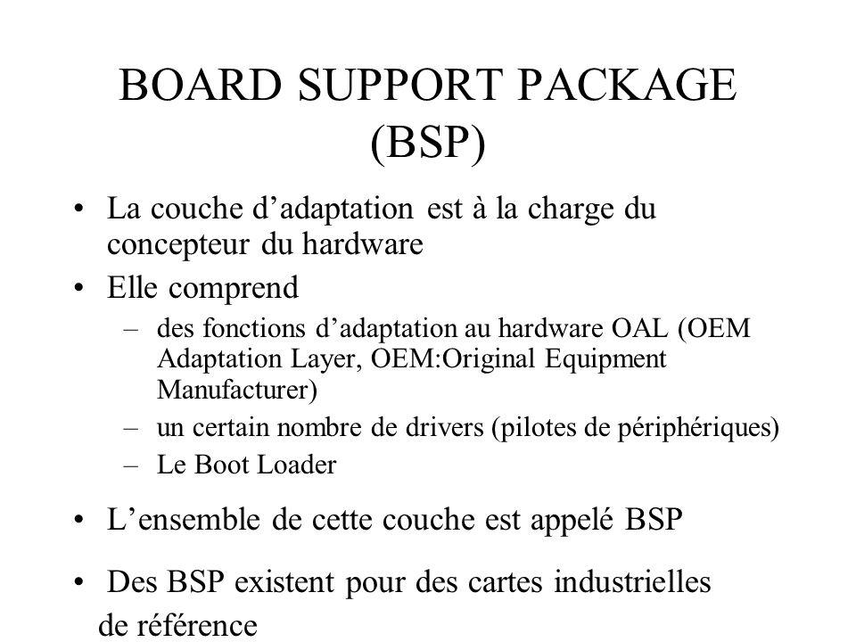 BOARD SUPPORT PACKAGE (BSP) La couche dadaptation est à la charge du concepteur du hardware Elle comprend –des fonctions dadaptation au hardware OAL (