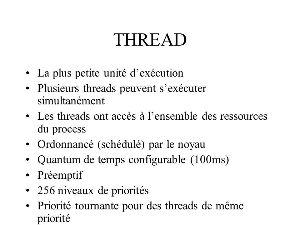 THREAD La plus petite unité dexécution Plusieurs threads peuvent sexécuter simultanément Les threads ont accès à lensemble des ressources du process O