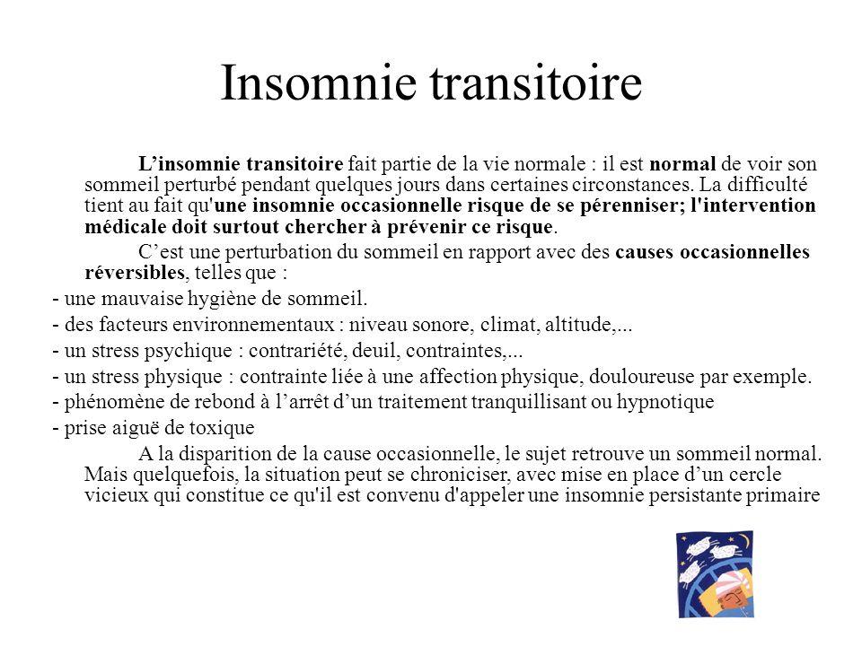 Insomnie transitoire Linsomnie transitoire fait partie de la vie normale : il est normal de voir son sommeil perturbé pendant quelques jours dans cert
