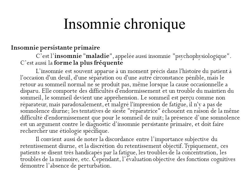 Insomnie chronique Insomnie persistante primaire Cest linsomnie