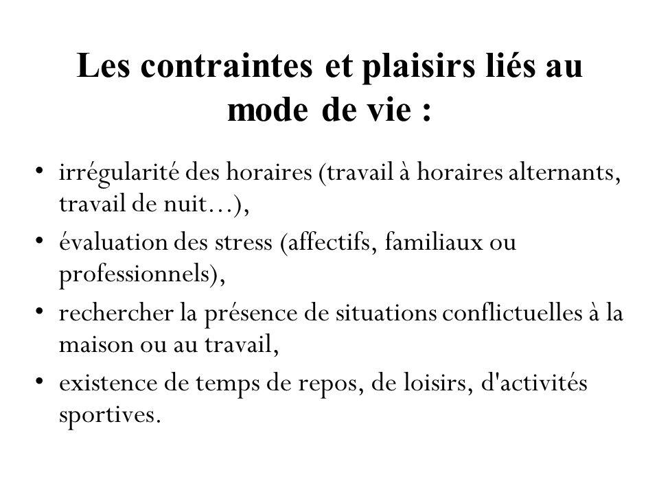 Les contraintes et plaisirs liés au mode de vie : irrégularité des horaires (travail à horaires alternants, travail de nuit...), évaluation des stress