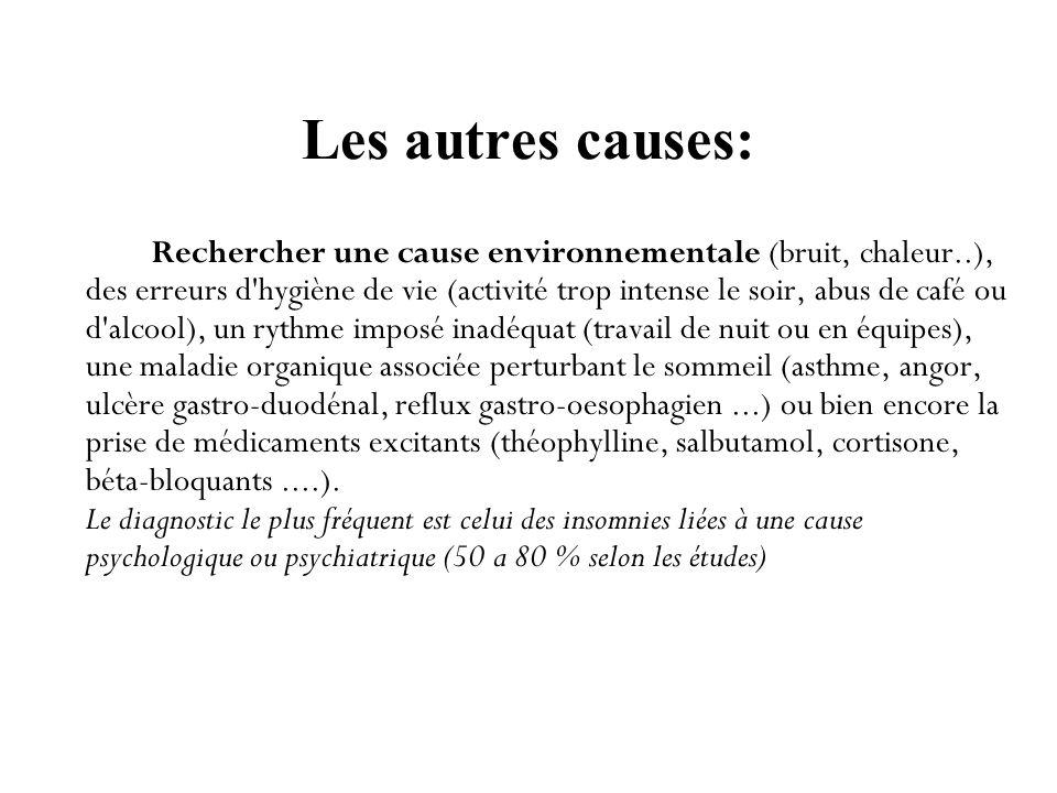 Les autres causes: Rechercher une cause environnementale (bruit, chaleur..), des erreurs d'hygiène de vie (activité trop intense le soir, abus de café