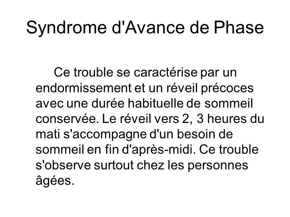 Syndrome d'Avance de Phase Ce trouble se caractérise par un endormissement et un réveil précoces avec une durée habituelle de sommeil conservée. Le ré