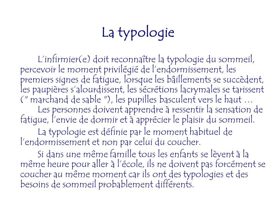 La typologie Linfirmier(e) doit reconnaître la typologie du sommeil, percevoir le moment privilégié de lendormissement, les premiers signes de fatigue