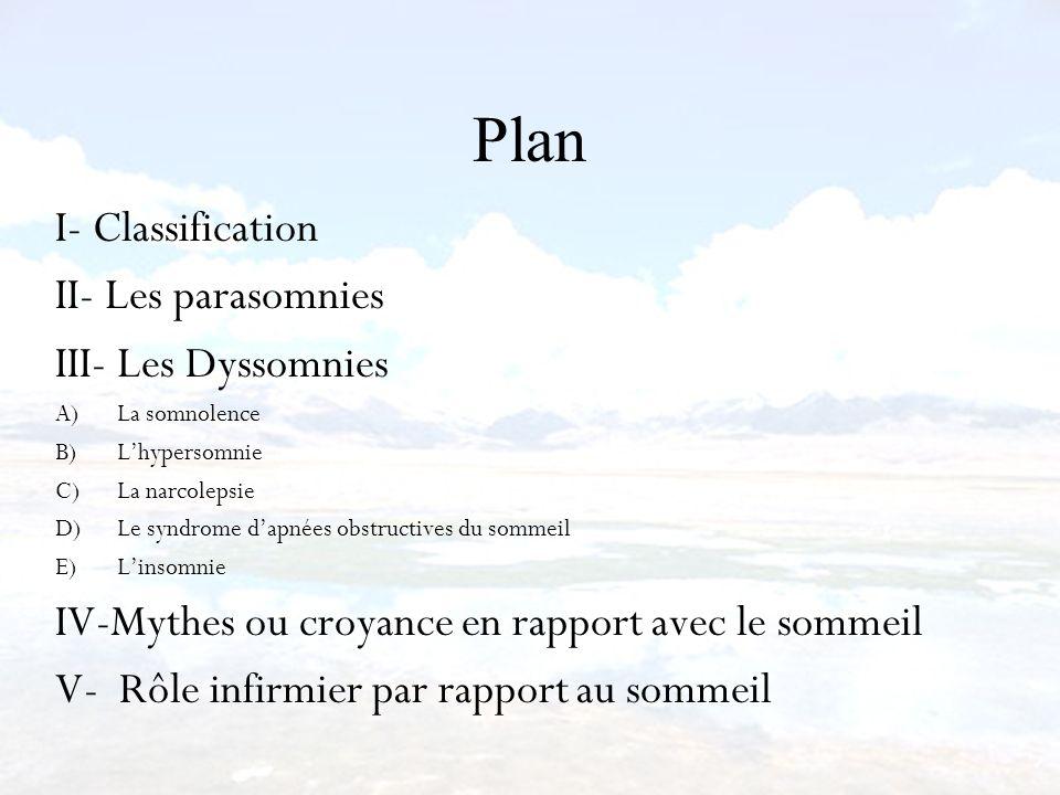 Plan I- Classification II- Les parasomnies III- Les Dyssomnies A)La somnolence B)Lhypersomnie C)La narcolepsie D)Le syndrome dapnées obstructives du s