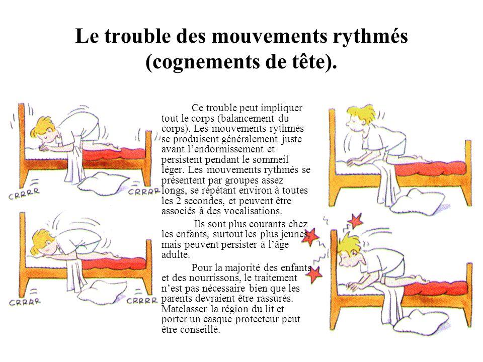 Le trouble des mouvements rythmés (cognements de tête). Ce trouble peut impliquer tout le corps (balancement du corps). Les mouvements rythmés se prod