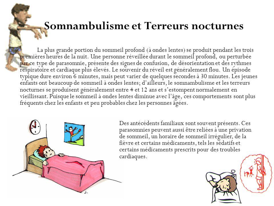 Somnambulisme et Terreurs nocturnes La plus grande portion du sommeil profond (à ondes lentes) se produit pendant les trois premières heures de la nui