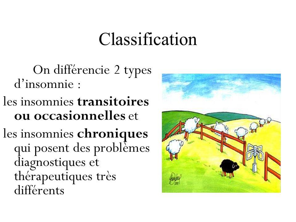 Classification On différencie 2 types dinsomnie : les insomnies transitoires ou occasionnelles et les insomnies chroniques qui posent des problèmes di