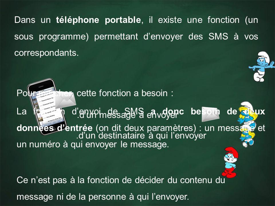 Dans un téléphone portable, il existe une fonction (un sous programme) permettant denvoyer des SMS à vos correspondants. Pour marcher, cette fonction