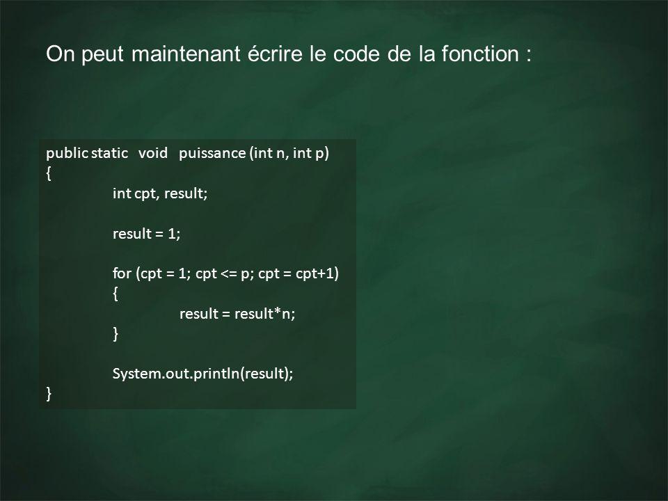 On peut maintenant écrire le code de la fonction : public static void puissance (int n, int p) { int cpt, result; result = 1; for (cpt = 1; cpt <= p;