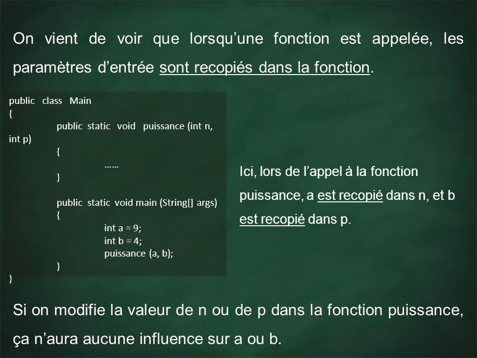 On vient de voir que lorsquune fonction est appelée, les paramètres dentrée sont recopiés dans la fonction. public class Main { public static void pui