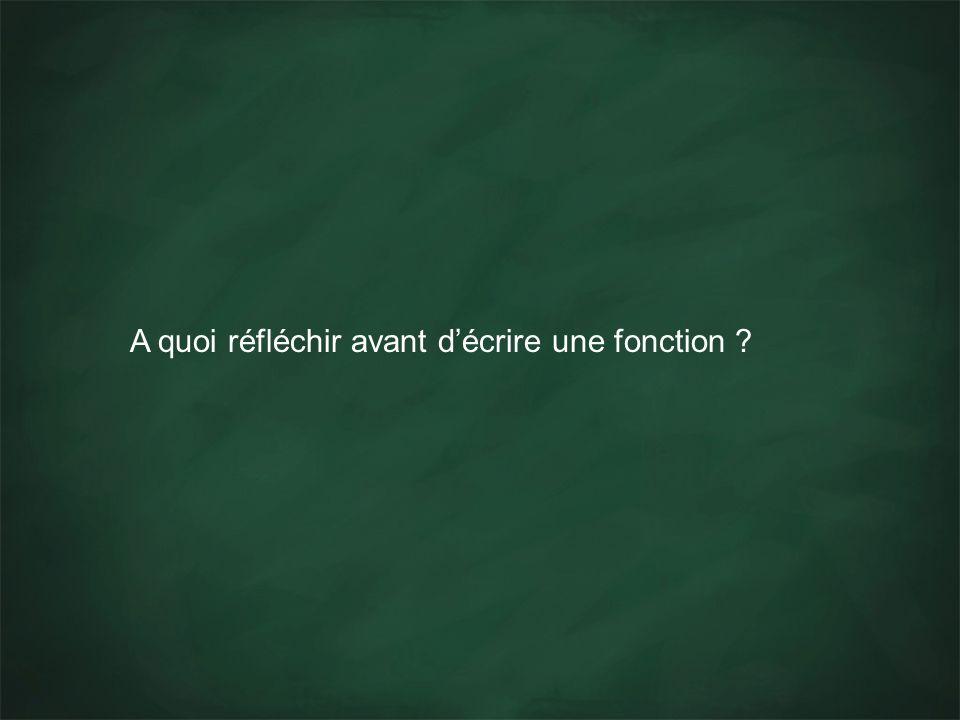 A quoi réfléchir avant décrire une fonction ?