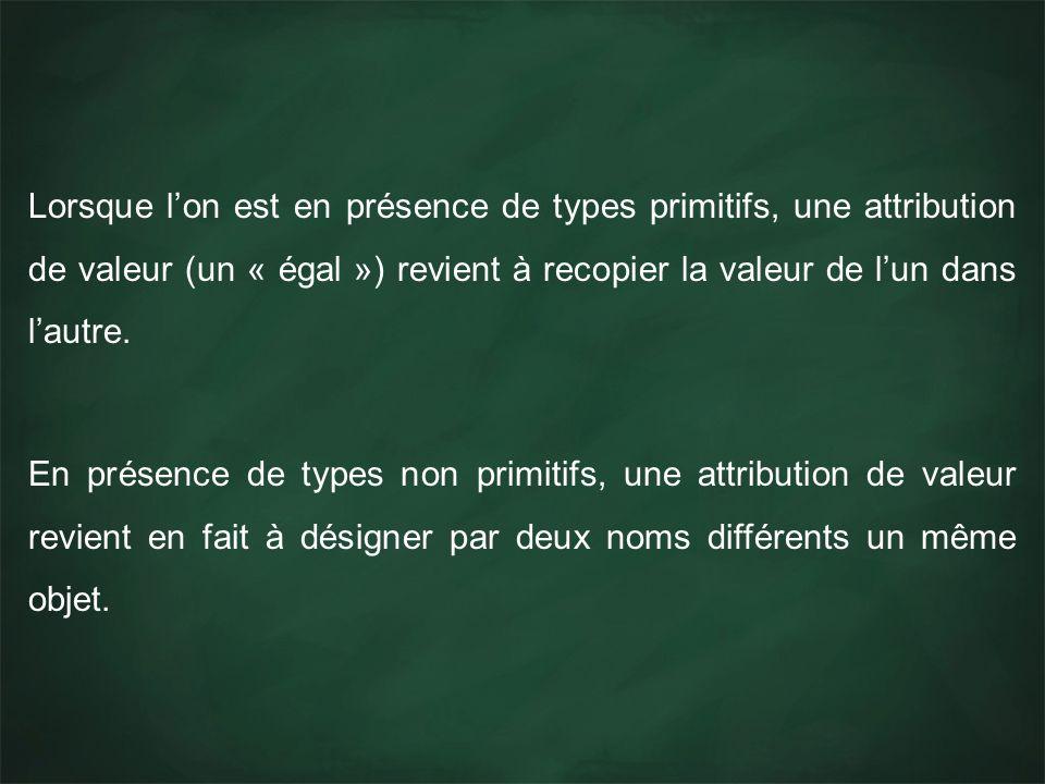 Lorsque lon est en présence de types primitifs, une attribution de valeur (un « égal ») revient à recopier la valeur de lun dans lautre.