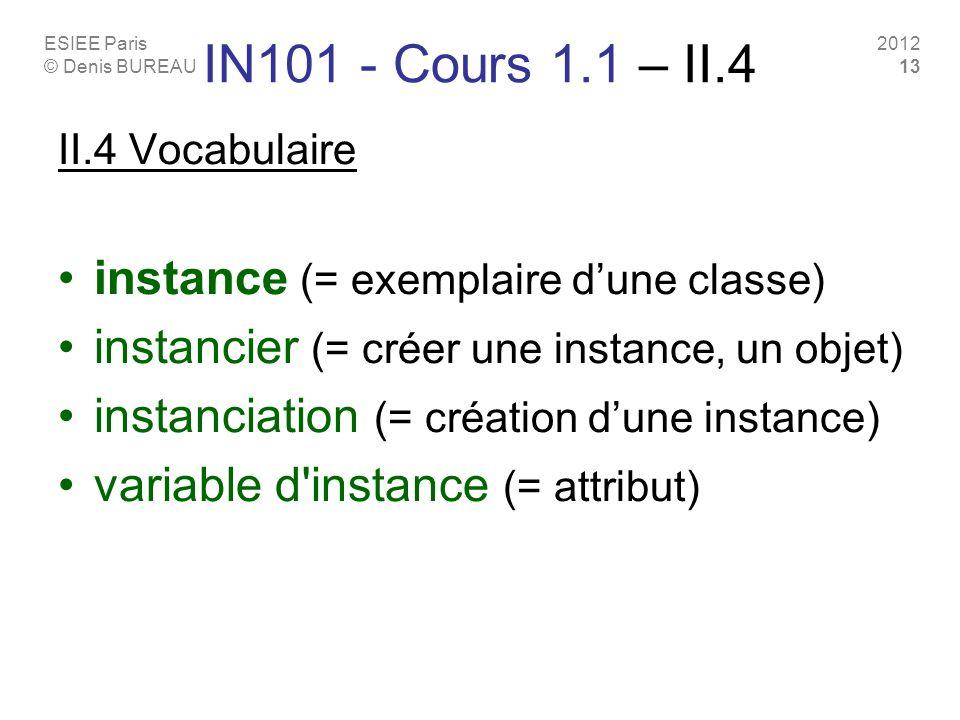 ESIEE Paris © Denis BUREAU 2012 13 IN101 - Cours 1.1 – II.4 II.4 Vocabulaire instance (= exemplaire dune classe) instancier (= créer une instance, un