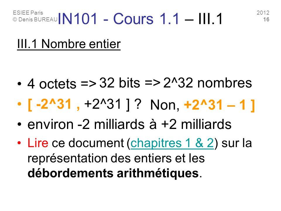 ESIEE Paris © Denis BUREAU 2012 16 IN101 - Cours 1.1 – III.1 III.1 Nombre entier 4 octets => [ -2^31, +2^31 ] ? environ -2 milliards à +2 milliards Li