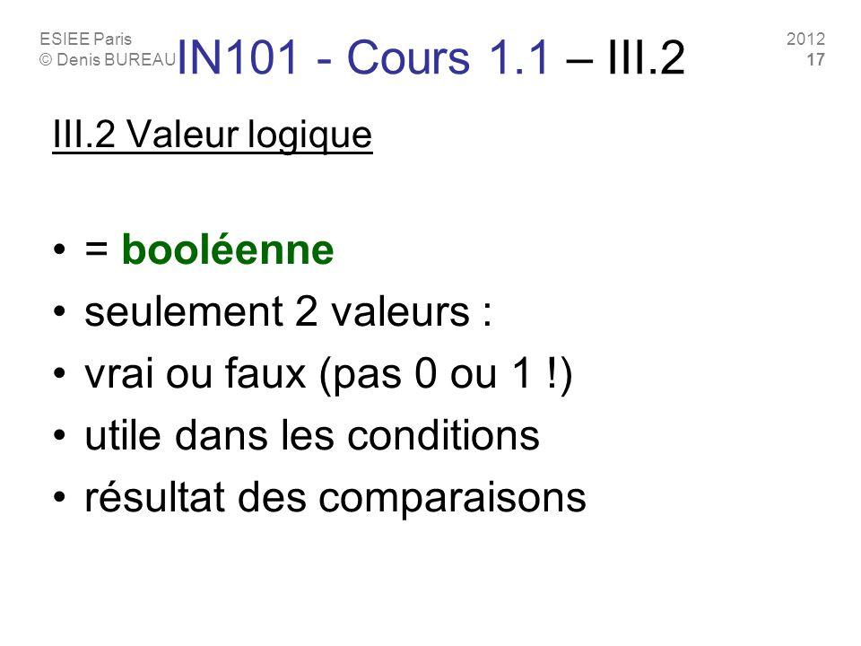ESIEE Paris © Denis BUREAU 2012 17 IN101 - Cours 1.1 – III.2 III.2 Valeur logique = booléenne seulement 2 valeurs : vrai ou faux (pas 0 ou 1 !) utile