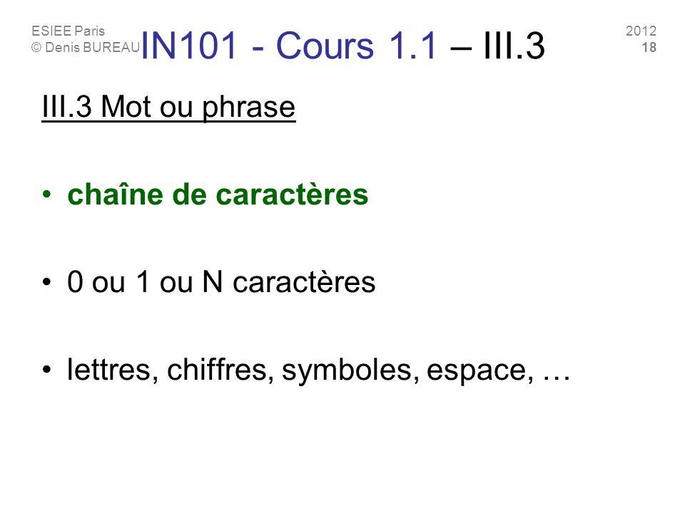 ESIEE Paris © Denis BUREAU 2012 18 IN101 - Cours 1.1 – III.3 III.3 Mot ou phrase chaîne de caractères 0 ou 1 ou N caractères lettres, chiffres, symbol