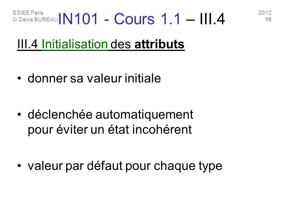 ESIEE Paris © Denis BUREAU 2012 19 IN101 - Cours 1.1 – III.4 III.4 Initialisation des attributs donner sa valeur initiale déclenchée automatiquement p