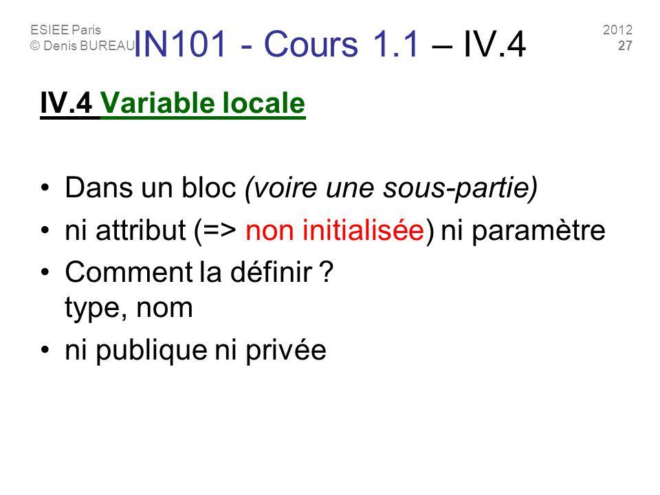ESIEE Paris © Denis BUREAU 2012 27 IN101 - Cours 1.1 – IV.4 IV.4 Variable locale Dans un bloc (voire une sous-partie) ni attribut (=> non initialisée)