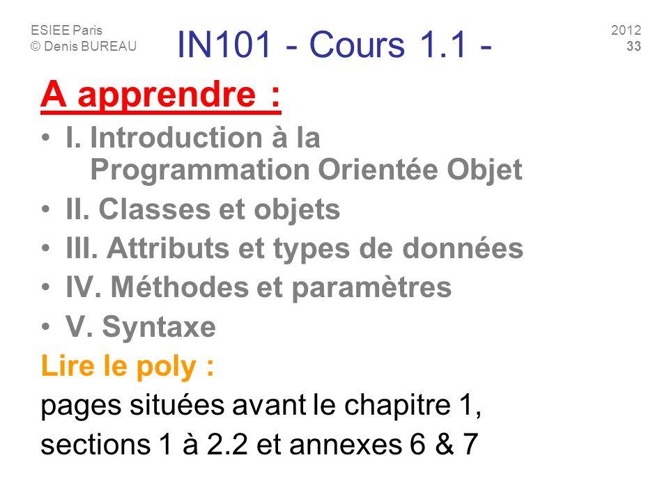 ESIEE Paris © Denis BUREAU 2012 33 IN101 - Cours 1.1 - A apprendre : I. Introduction à la Programmation Orientée Objet II. Classes et objets III. Attr