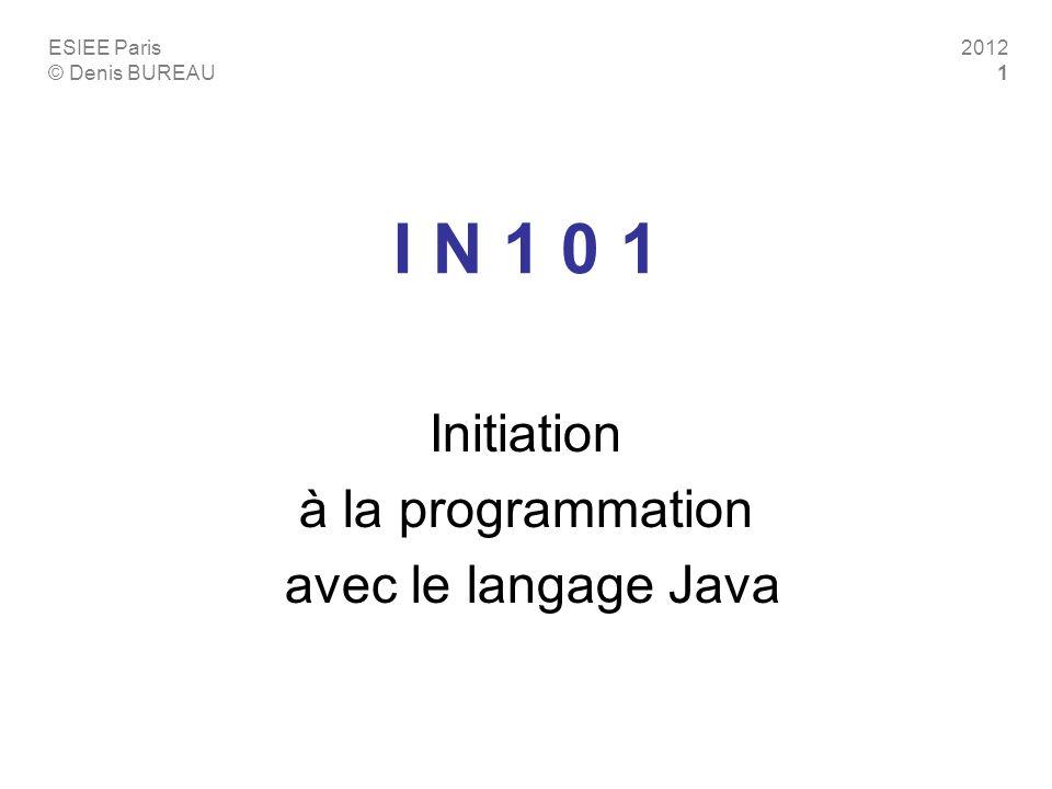 ESIEE Paris © Denis BUREAU 2012 1 I N 1 0 1 Initiation à la programmation avec le langage Java