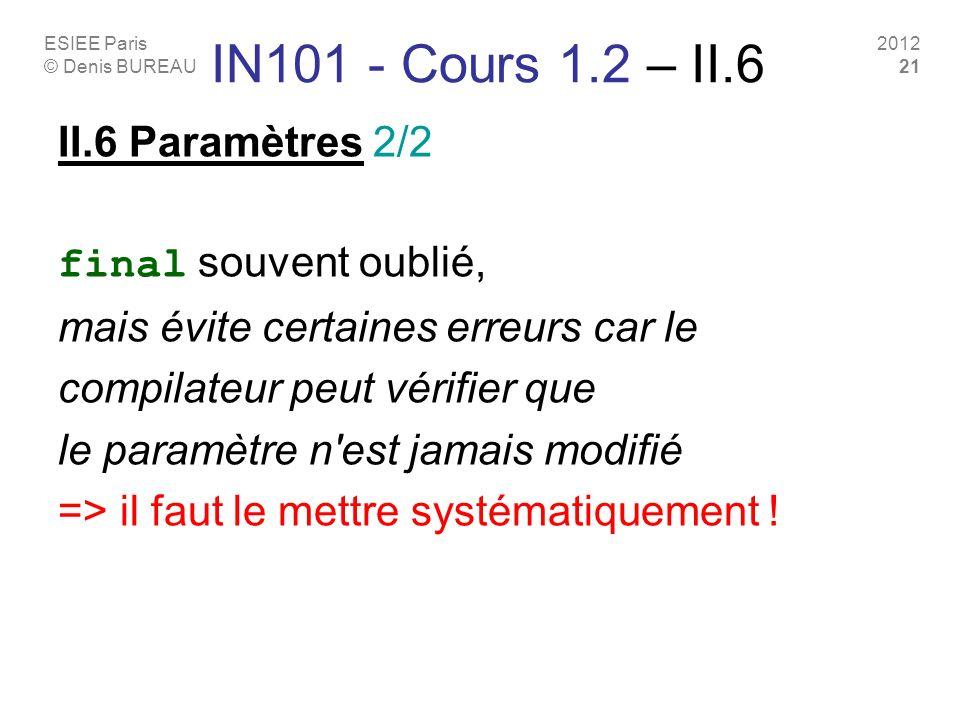 ESIEE Paris © Denis BUREAU 2012 21 IN101 - Cours 1.2 – II.6 II.6 Paramètres 2/2 final souvent oublié, mais évite certaines erreurs car le compilateur peut vérifier que le paramètre n est jamais modifié => il faut le mettre systématiquement !