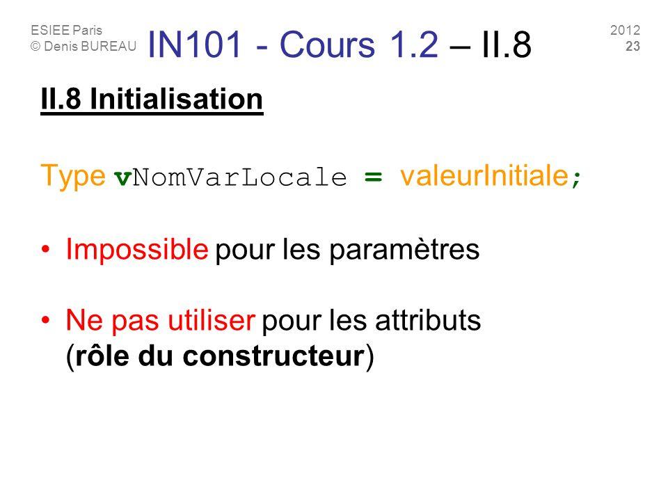 ESIEE Paris © Denis BUREAU 2012 23 IN101 - Cours 1.2 – II.8 II.8 Initialisation Type vNomVarLocale = valeurInitiale ; Impossible pour les paramètres Ne pas utiliser pour les attributs (rôle du constructeur)