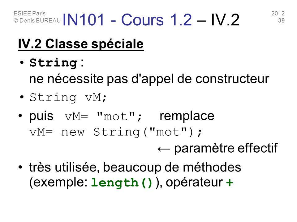 ESIEE Paris © Denis BUREAU 2012 39 IN101 - Cours 1.2 – IV.2 IV.2 Classe spéciale String : ne nécessite pas d appel de constructeur String vM; puis vM= mot ; remplace vM= new String( mot ); paramètre effectif très utilisée, beaucoup de méthodes (exemple: length() ), opérateur +