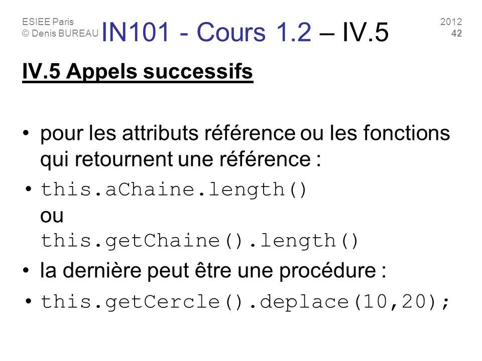 ESIEE Paris © Denis BUREAU 2012 42 IN101 - Cours 1.2 – IV.5 IV.5 Appels successifs pour les attributs référence ou les fonctions qui retournent une référence : this.aChaine.length() ou this.getChaine().length() la dernière peut être une procédure : this.getCercle().deplace(10,20);