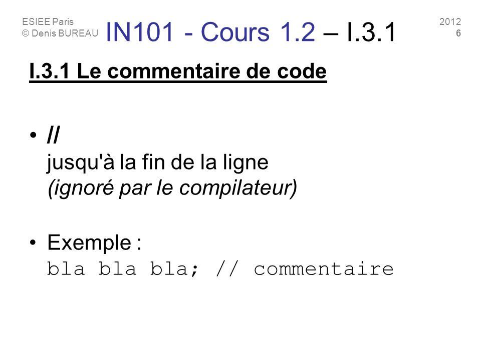 ESIEE Paris © Denis BUREAU 2012 6 IN101 - Cours 1.2 – I.3.1 I.3.1 Le commentaire de code // jusqu à la fin de la ligne (ignoré par le compilateur) Exemple : bla bla bla; // commentaire