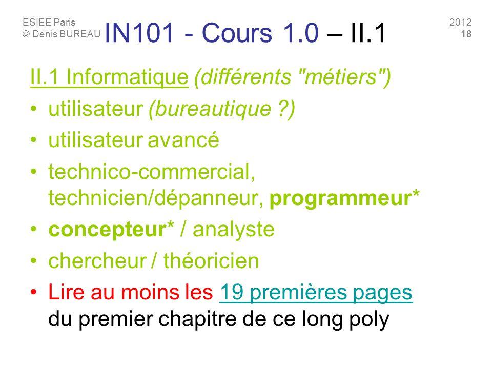 ESIEE Paris © Denis BUREAU 2012 18 IN101 - Cours 1.0 – II.1 II.1 Informatique (différents