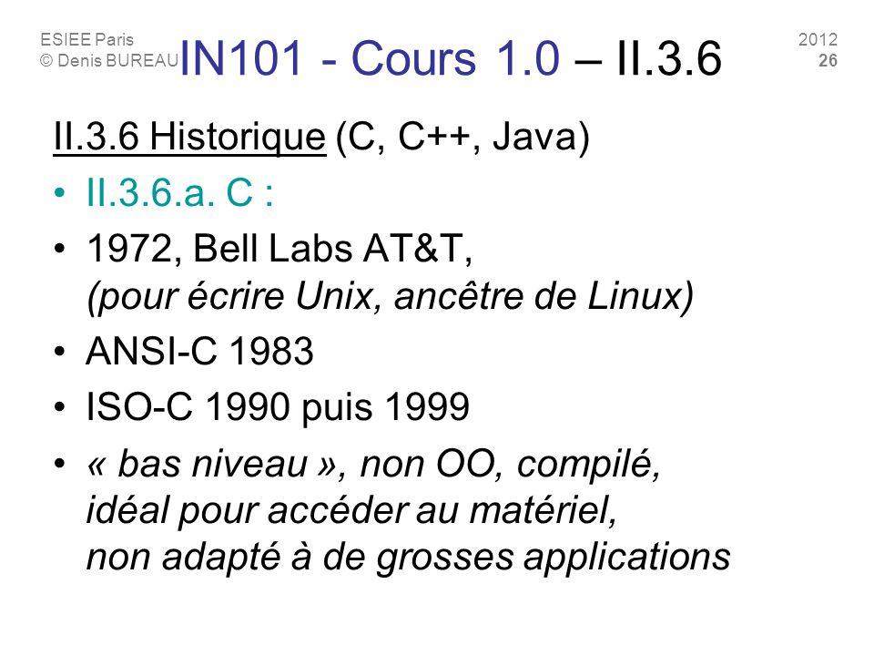 ESIEE Paris © Denis BUREAU 2012 26 IN101 - Cours 1.0 – II.3.6 II.3.6 Historique (C, C++, Java) II.3.6.a. C : 1972, Bell Labs AT&T, (pour écrire Unix,