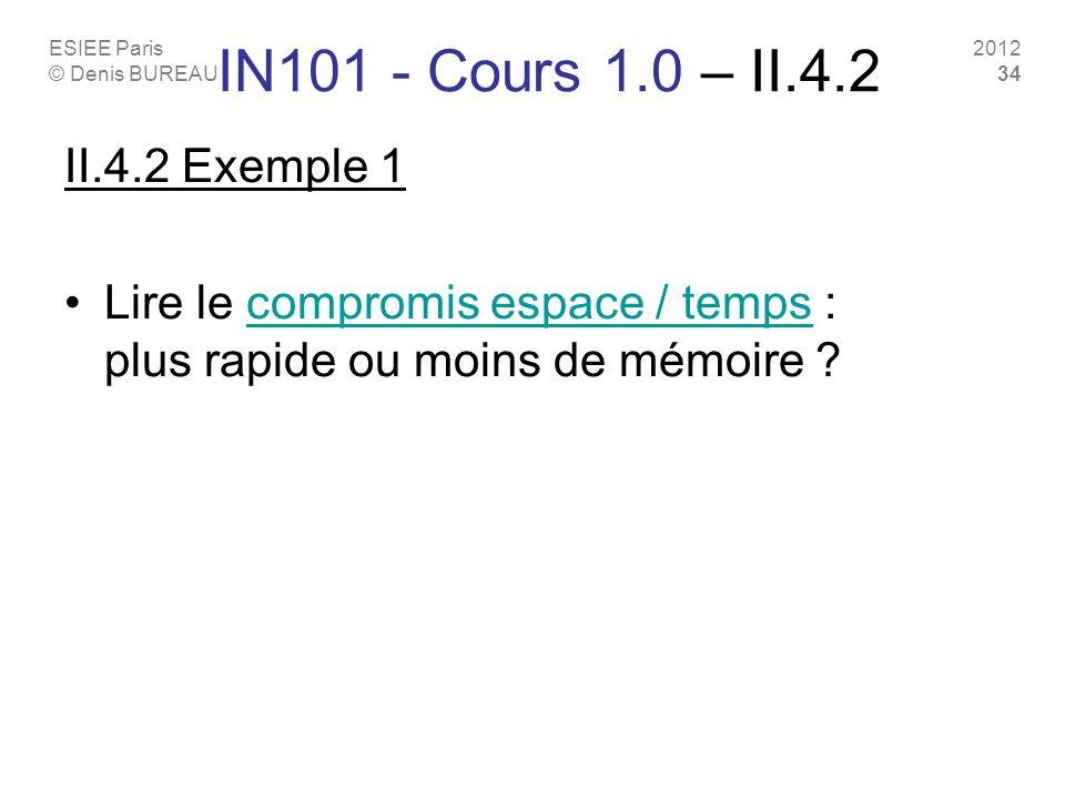 ESIEE Paris © Denis BUREAU 2012 34 IN101 - Cours 1.0 – II.4.2 II.4.2 Exemple 1 Lire le compromis espace / temps : plus rapide ou moins de mémoire ?com