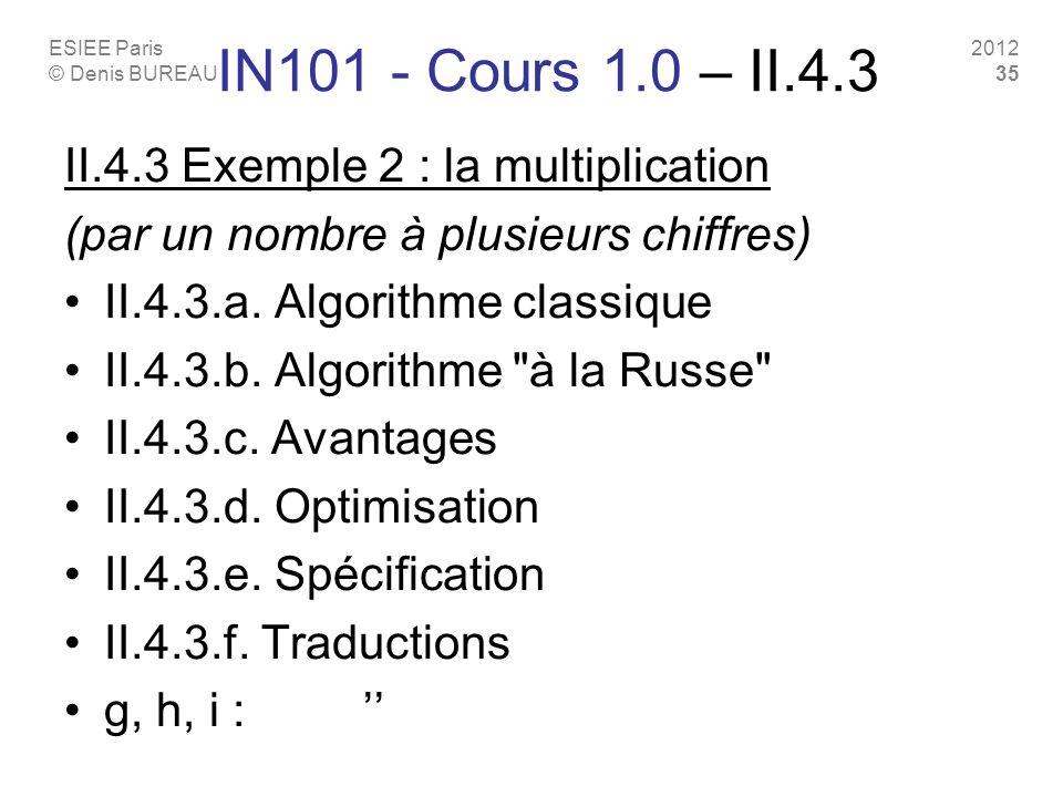 ESIEE Paris © Denis BUREAU 2012 35 IN101 - Cours 1.0 – II.4.3 II.4.3 Exemple 2 : la multiplication (par un nombre à plusieurs chiffres) II.4.3.a. Algo
